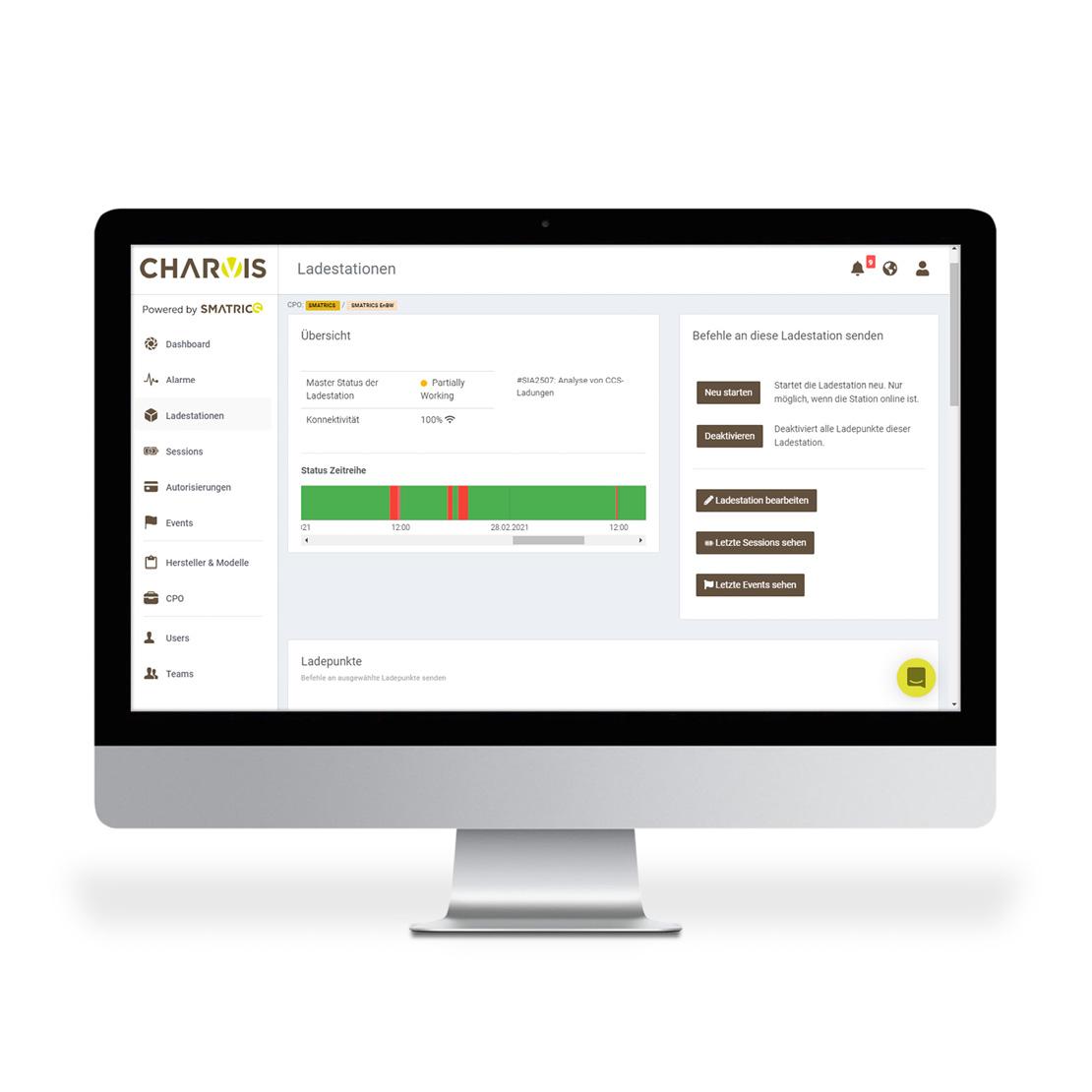 SMATRICS CPMS Screenshot Stationen verwalten