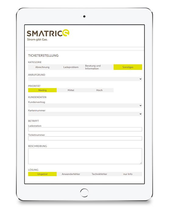 SMATRICS Ticketing Tool Screenshot Ticket Erstellung